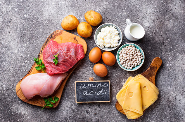 amino-acids-on-chalkboard-surrounded-by-amino-rich-foods